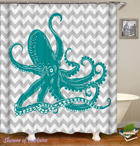 Cool - Turquoise Octopus Shower curtain