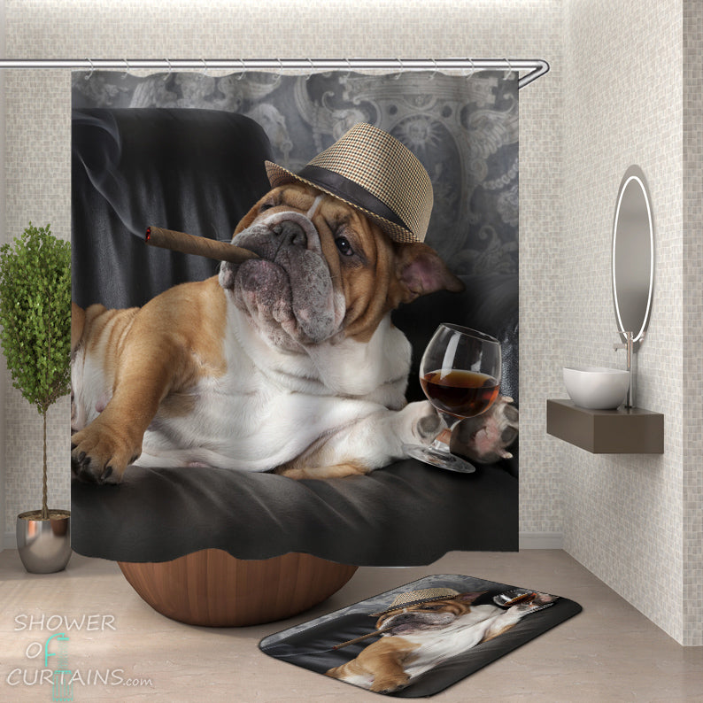 Cool Dog Shower Curtain - Bulldog Boss Shower Curtains
