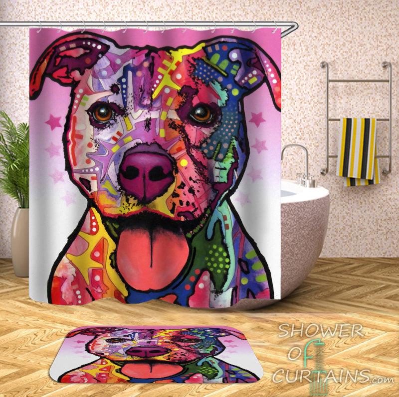 Cool Dog Shower Curtains - Colorful Dog Painting Bathroom Decor