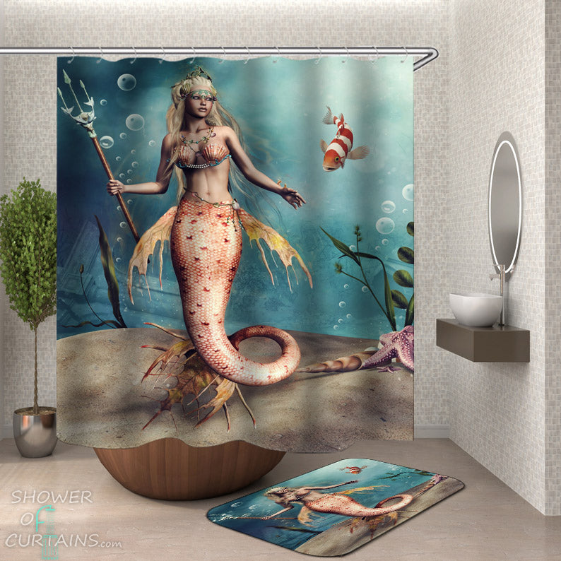 Cool Mermaid Shower Curtain - Dangerous Mermaid Shower Curtain and Bath Mat
