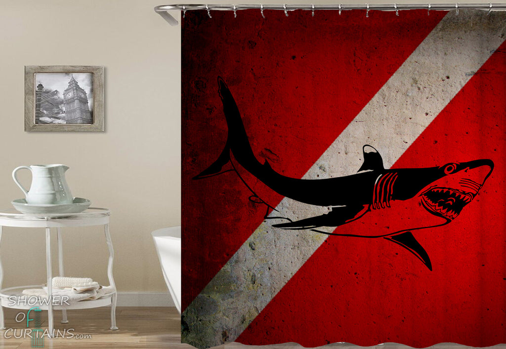 Cool Shark Shower Curtain - Shark Danger
