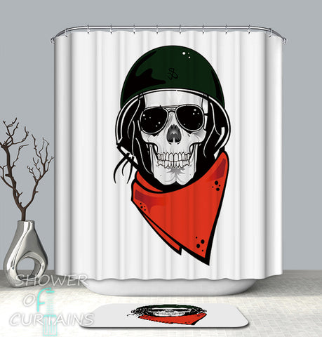 Cool Skull Shower Curtains - Sunglasses Soldier