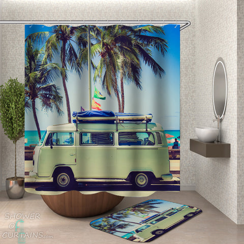 Cool Tropical Shower Curtains - Vacation Van Shower Curtain