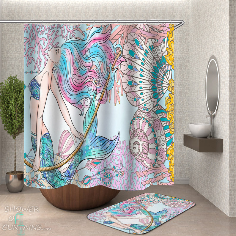 Coral and Mermaid Shower Curtain