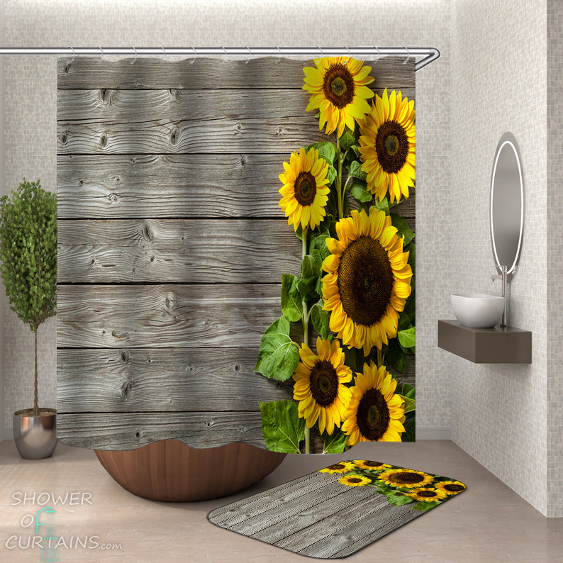 Country Shower Curtains of Rustic Deck Sunflowers