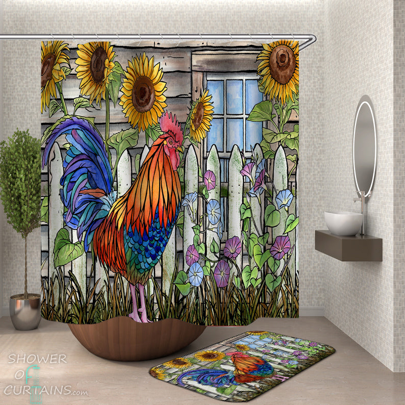 Country Shower Curtains of Sunflowers And Rooster Painting