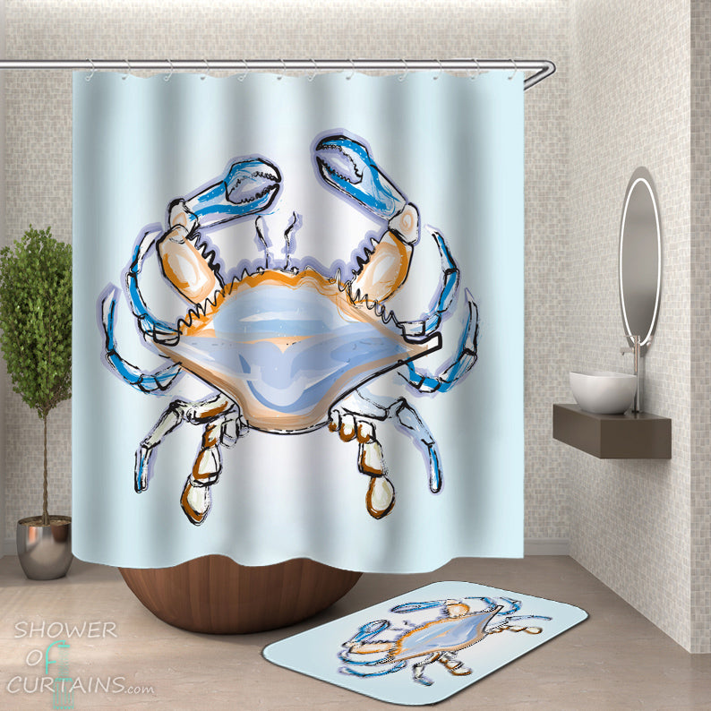 Crab Shower Curtain - Nautical Shower Curtains