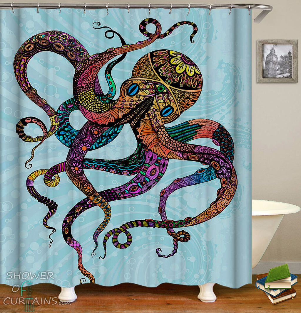 Crazy Colors Octopus Shower Curtain