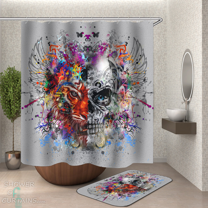 Crazy Skull Shower Curtain - Crazy Colorful Mix Skull And Tiger
