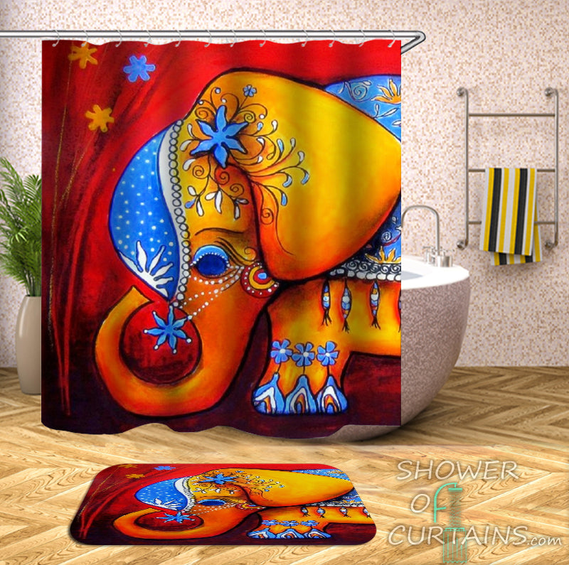 Cute Little Elephant Shower Curtain