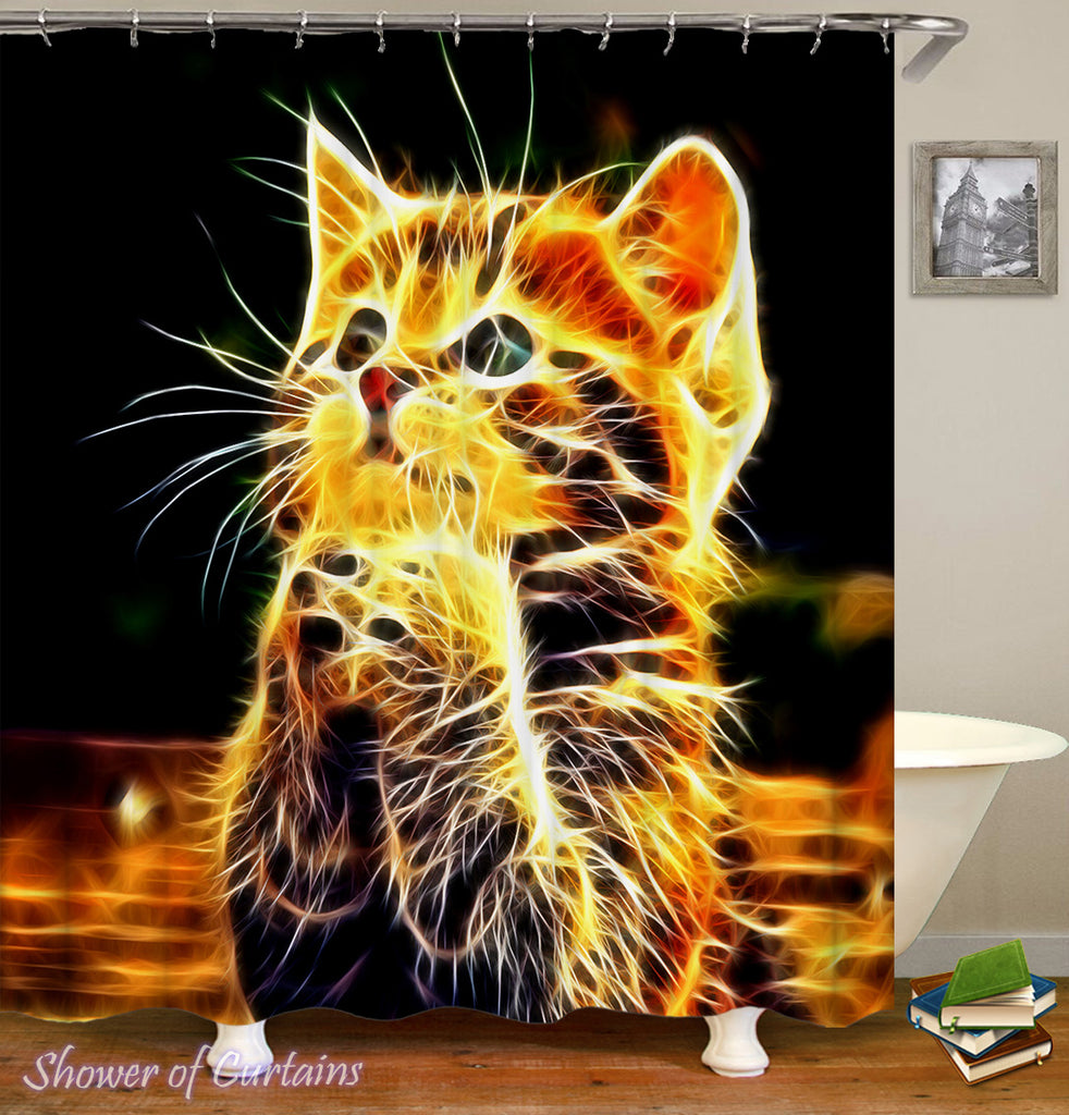 Cute Shower Curtains - Electric Cat shower curtain