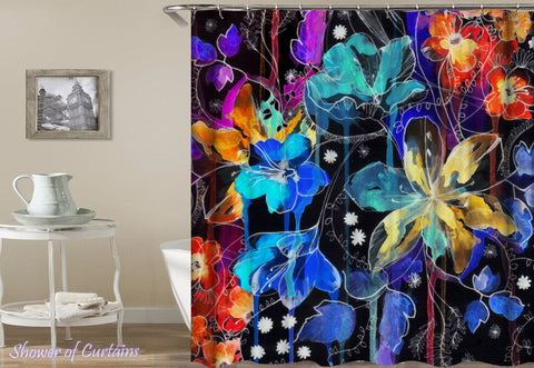 Dark Flower Painting - unusual shower curtains theme