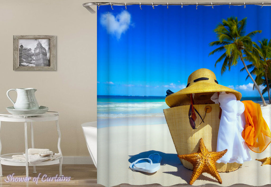 Day At The Beach - Beach Shower Curtain Design