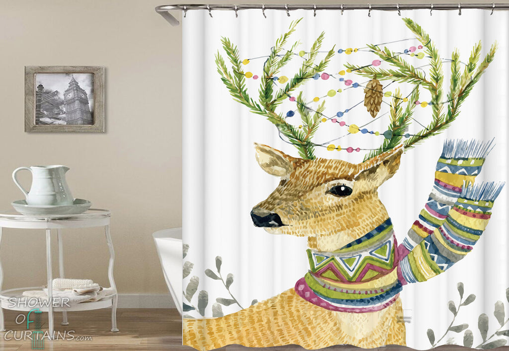 Deer Shower Curtain - Winter Deer Drawing
