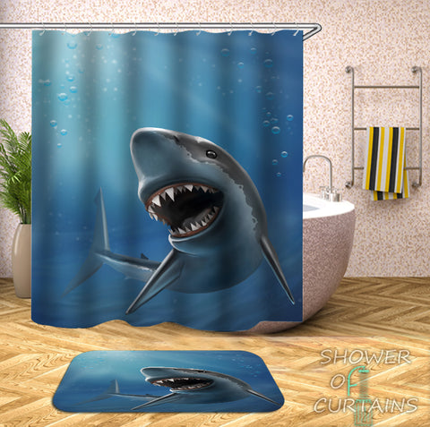 Digital Painting Shark Shower Curtain