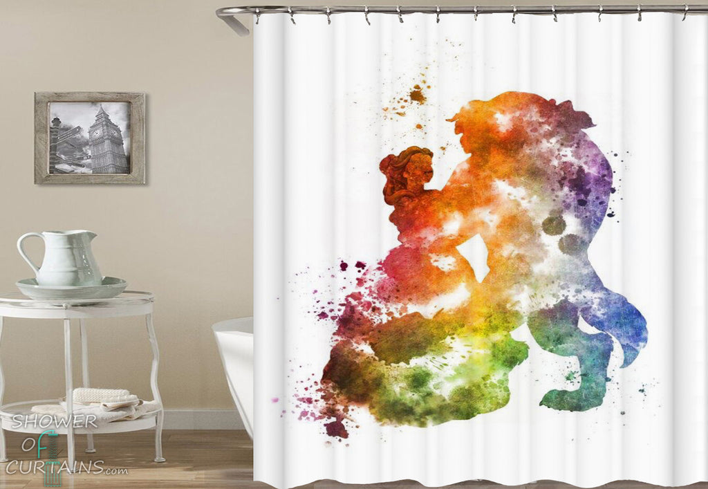 Disney Shower Curtain of Colorful Splash Beauty And The Beast