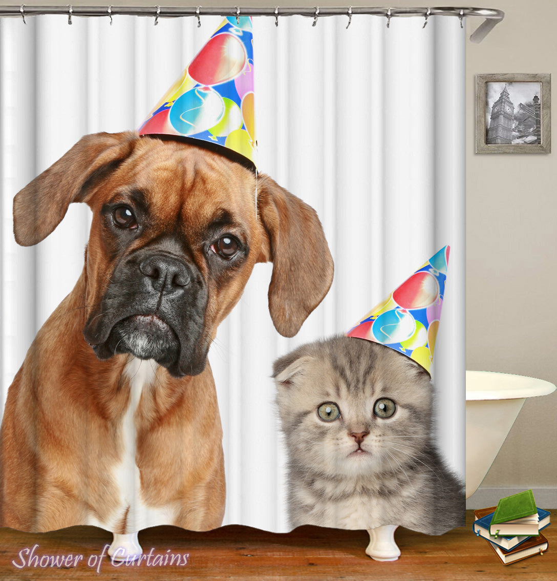 Dog Cat Shower Curtain Of Birthday Pets
