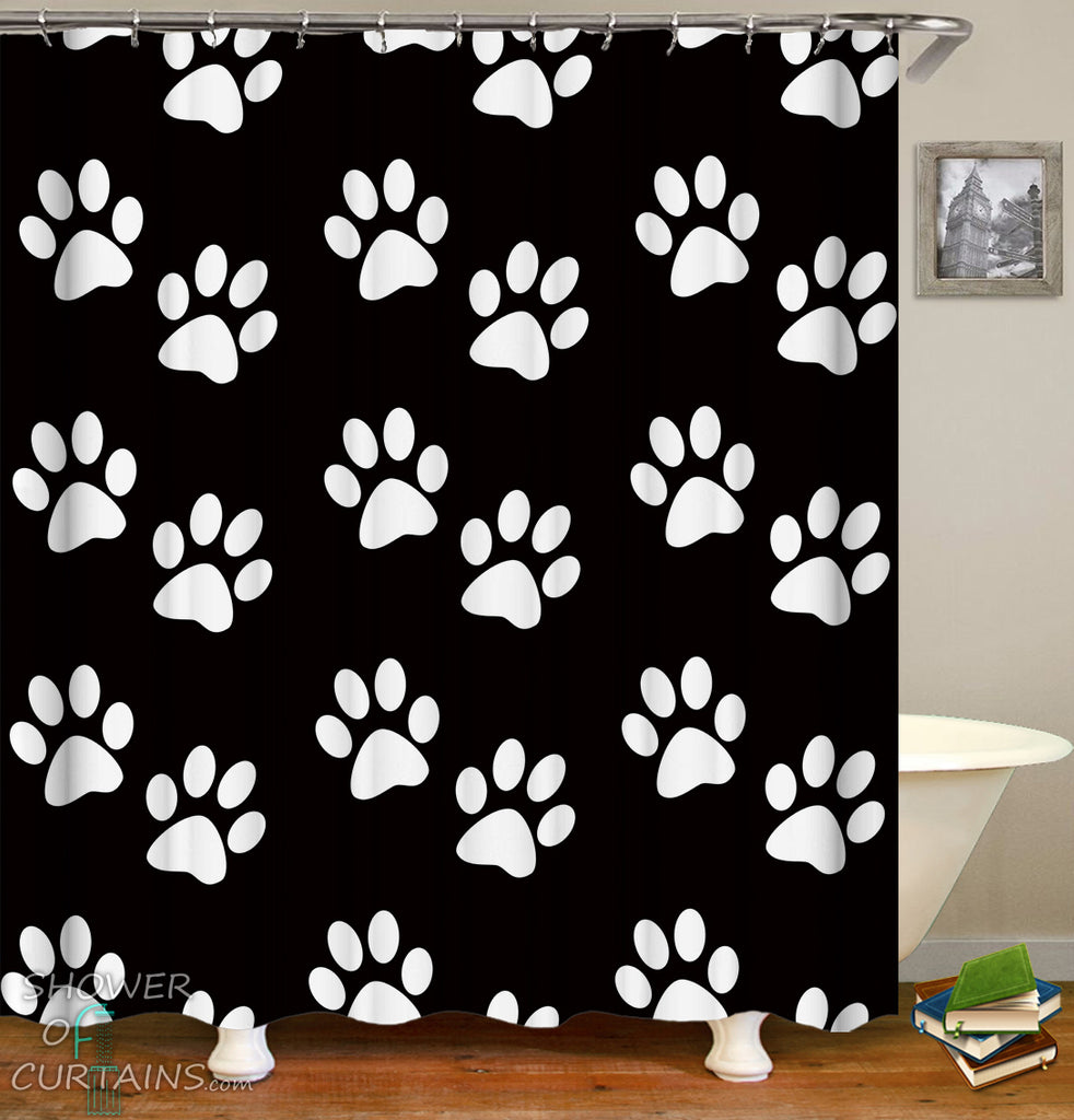Dog Shower Curtain of White Dogs' Paws Shower Curtain