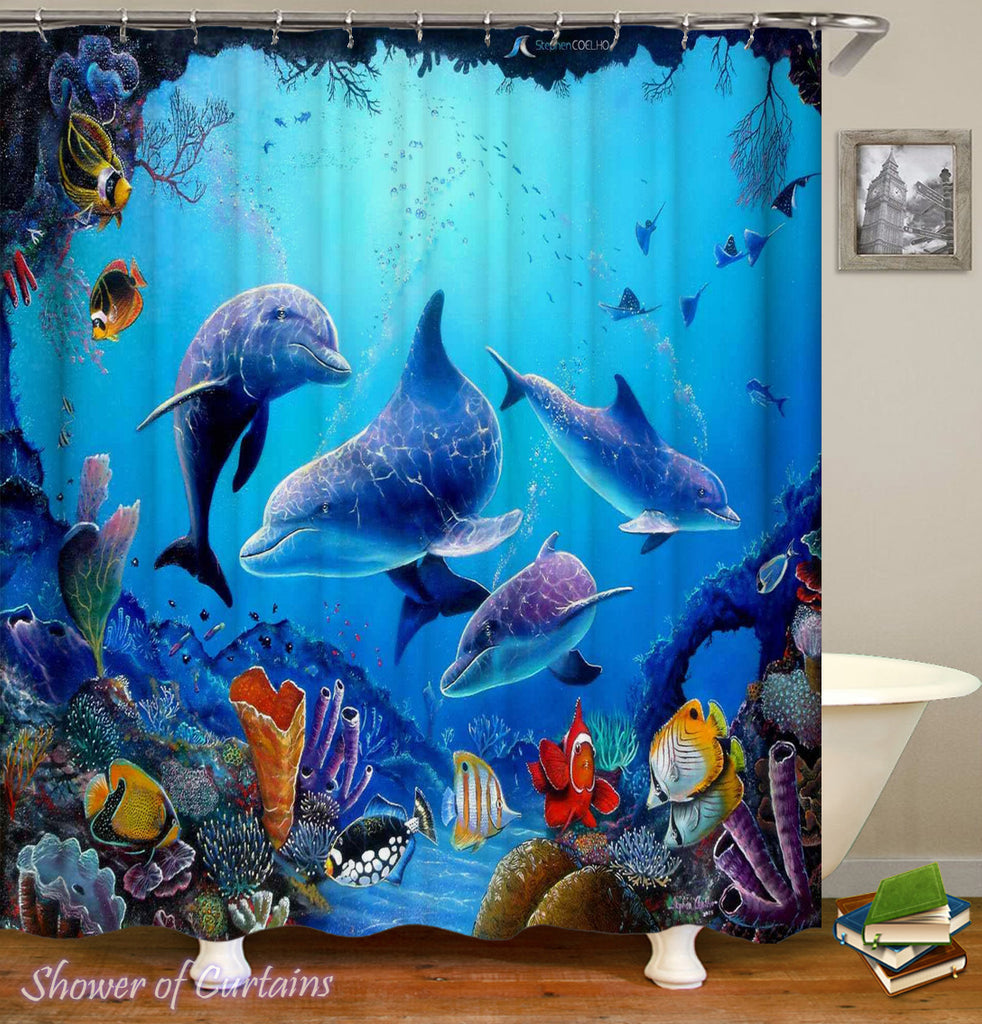 Dolphin Reef Shower Curtain - Ocean Themed Bathroom