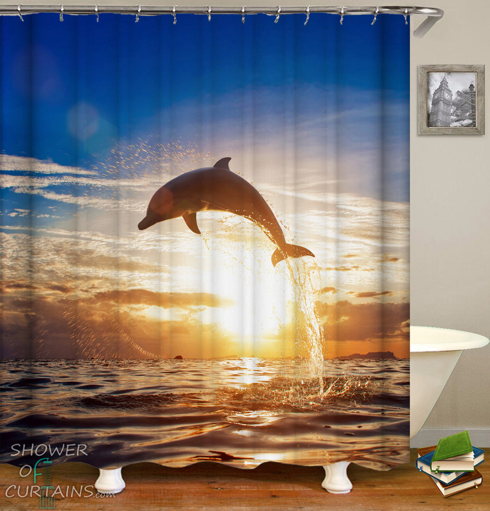 Dolphin Shower Curtain of A Dolphin Jump