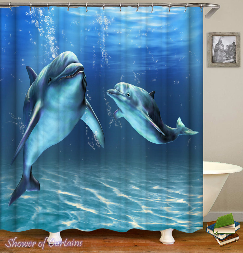 Dolphon Shower Curtain - Two Dolphins