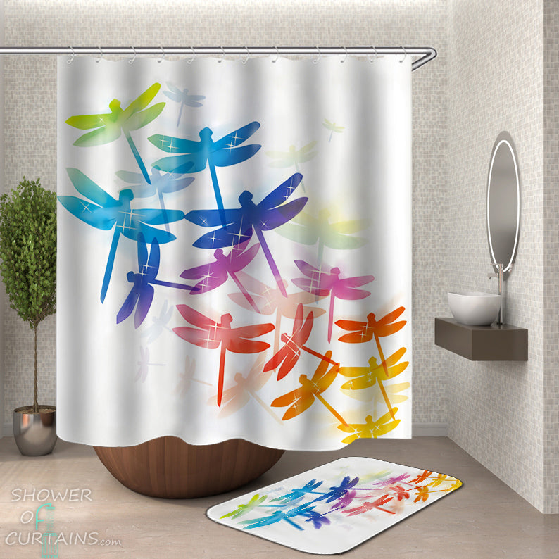 Dragonfly Shower Curtain - Colorful Dragonflies
