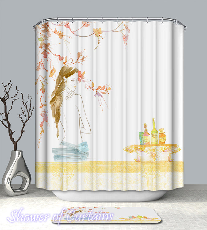 Drawing Of A Woman on a Shower Curtain