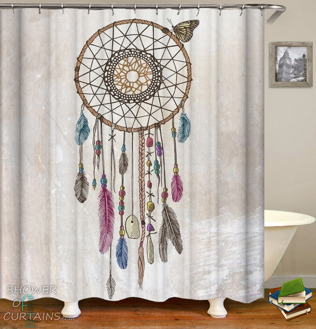 Dream Catcher Shower Curtain Drawing