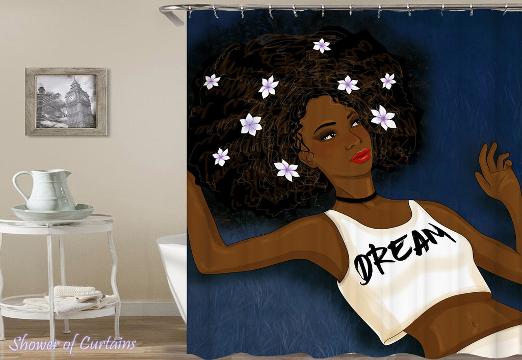 Dreamy Afro Girl Shower Curtain