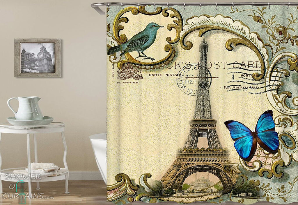 Eiffel Tower Postcard Shower Curtain - Paris Bathroom Decor