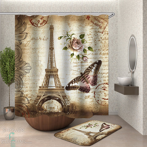 Eiffel Tower Shower Curtain - A Postcard From Paris Shower Curtain and Bath Mat
