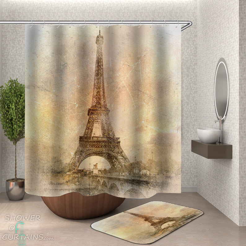 Eiffel Tower Shower Curtain - Vintage Eiffel Tower Photo