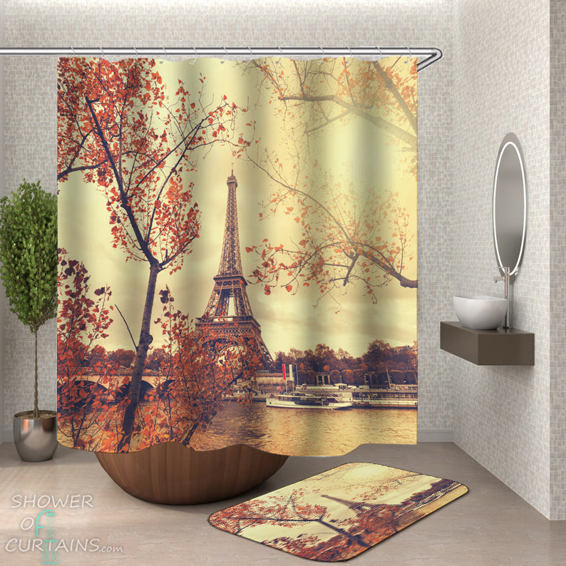 Eiffel Tower Shower Curtain and Bath Mat - Romantic View of the Eiffel Tower
