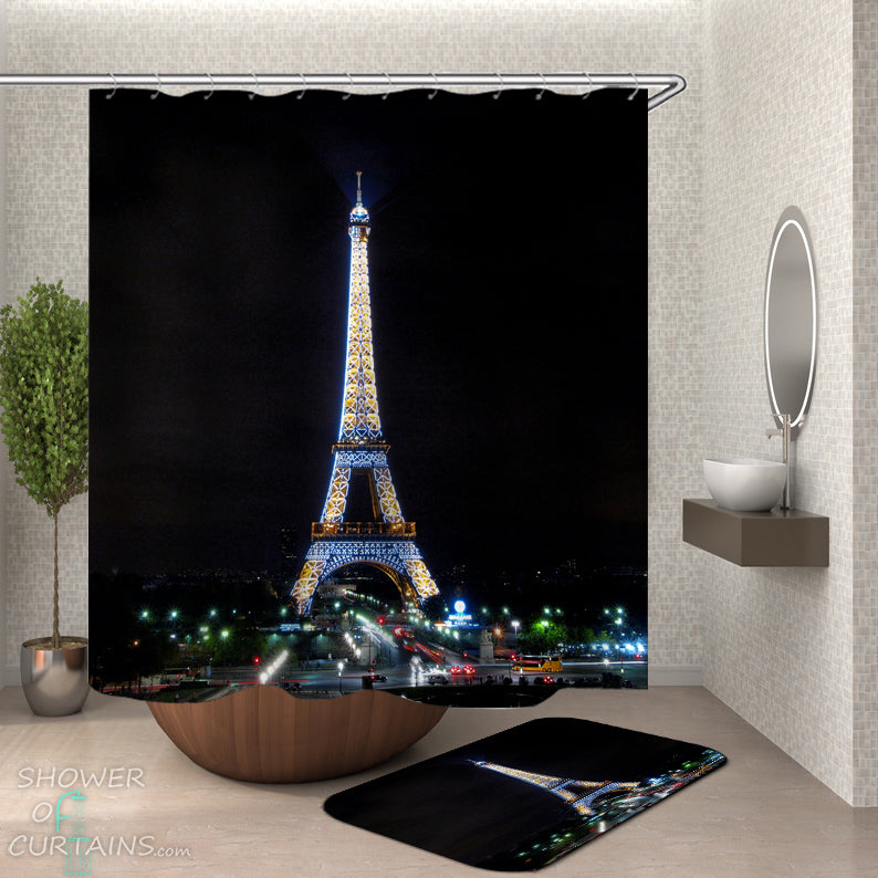 Eiffel Tower Shower Curtain and Bath Mat Set