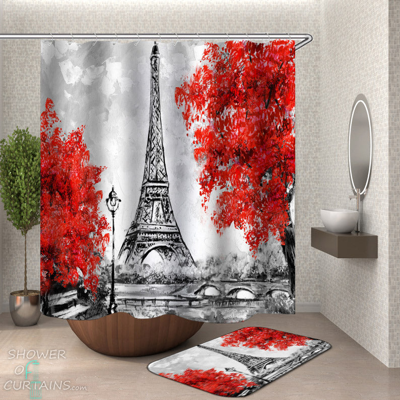 Eiffel Tower Shower Curtains - Art Fall Eiffel Tower