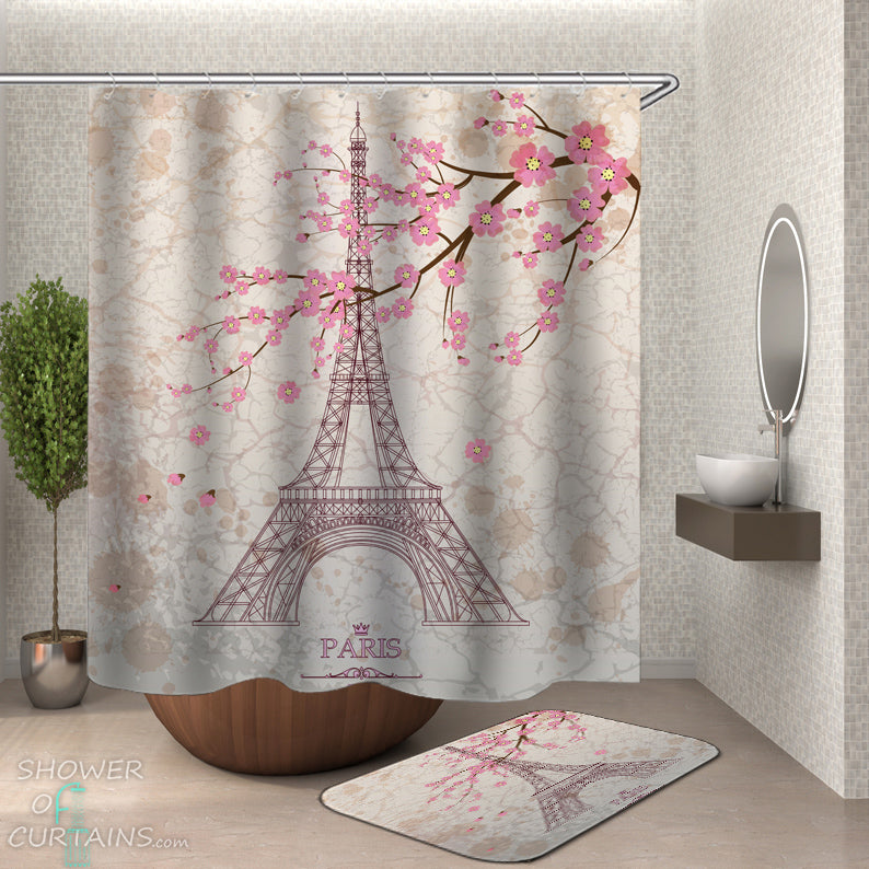 Eiffel Tower and Cherry Blossom Shower Curtain And Bath Mat Set