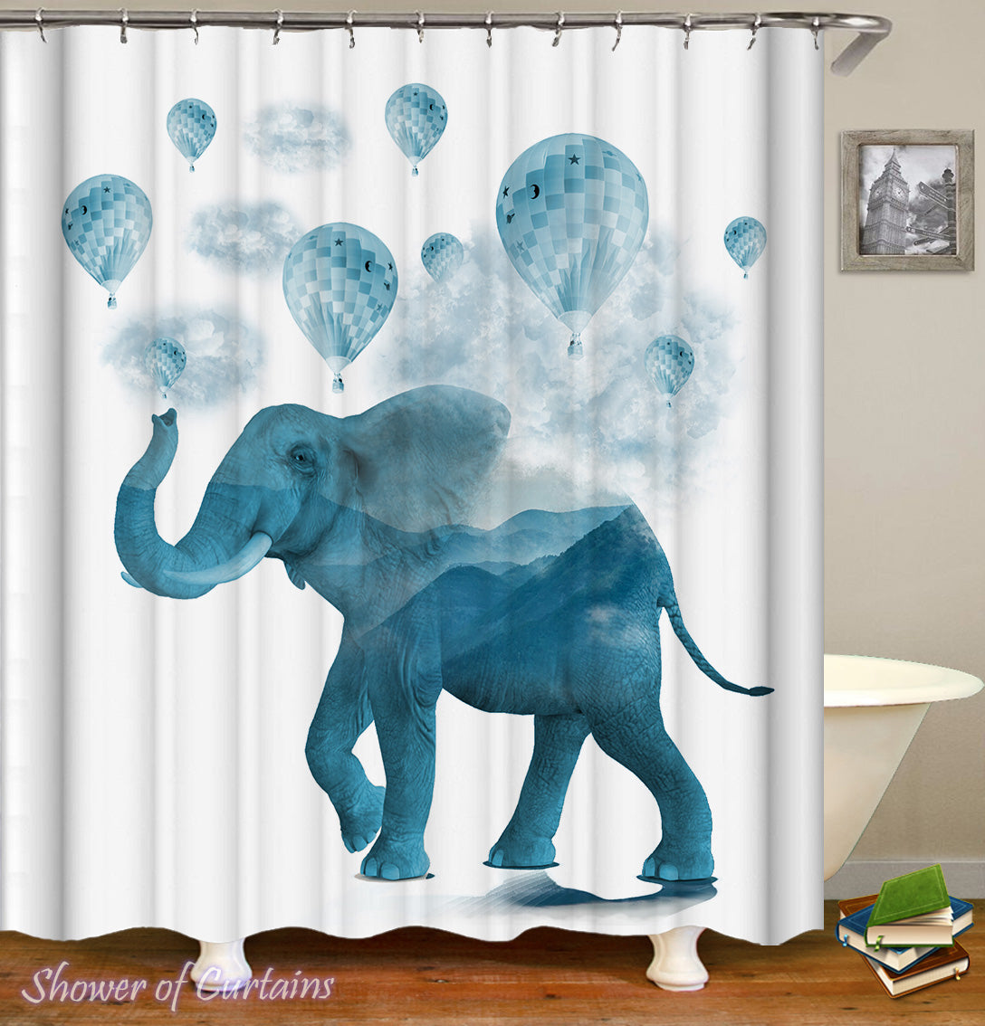 Delicieux Elephant Bathroom Decor Of Blue Hot Air Balloons And Elephant Shower Curtain