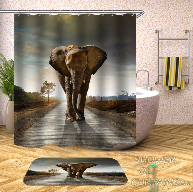 Elephant Bathroom Decor of Elephant King Of The Road shower curtains
