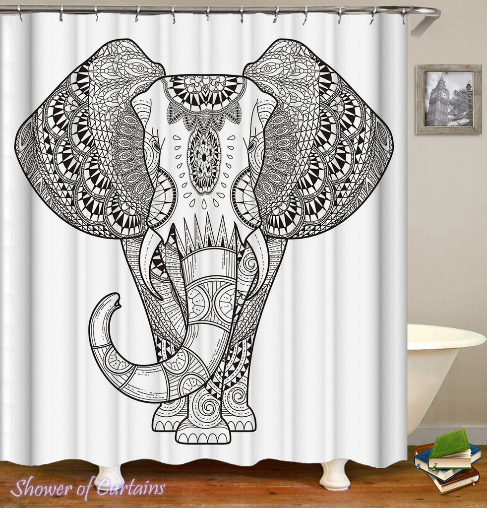 Elephant Shower Curtain - Black And White Elephant Drawing