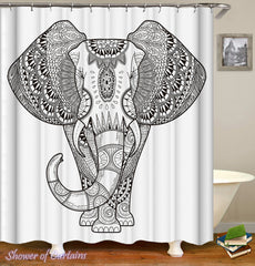 black-and-white-elephant-shower-curtain-drawing