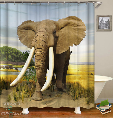 Elephant Shower Curtain - Mighty Elephant In The Wild