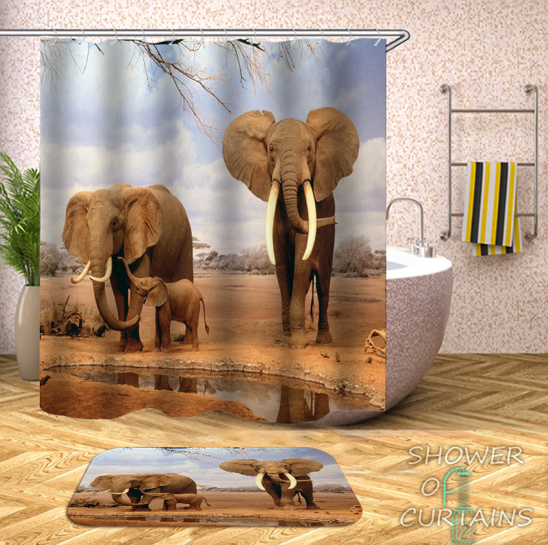 Elephant Shower Curtain Design of Elephants In The Wild