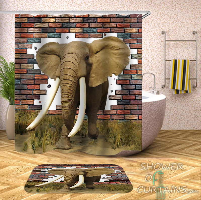 Shower Curtains | Elephant Breaks Its Way To Freedom – Shower of ...
