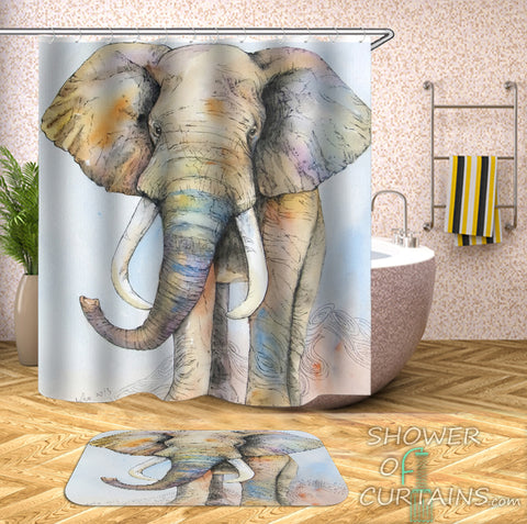 Elephant Shower Curtain Features Light Colors Elephant Drawing