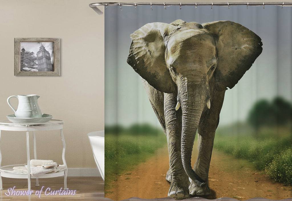 Elephant Shower Curtain On The Road