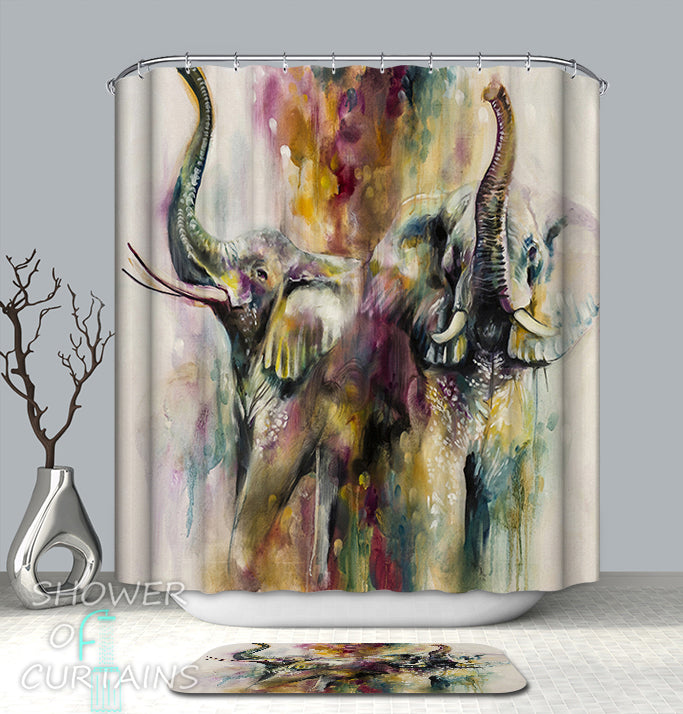 Elephant Shower Curtain of Colorful Artwork Elephants Shower Curtain