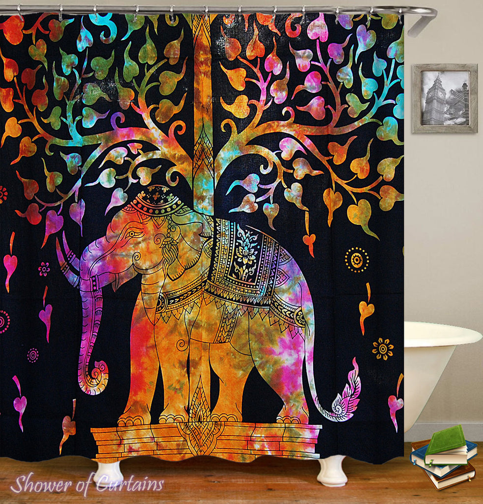 Elephant Shower Curtain of Colorful Indian Elephant Statue