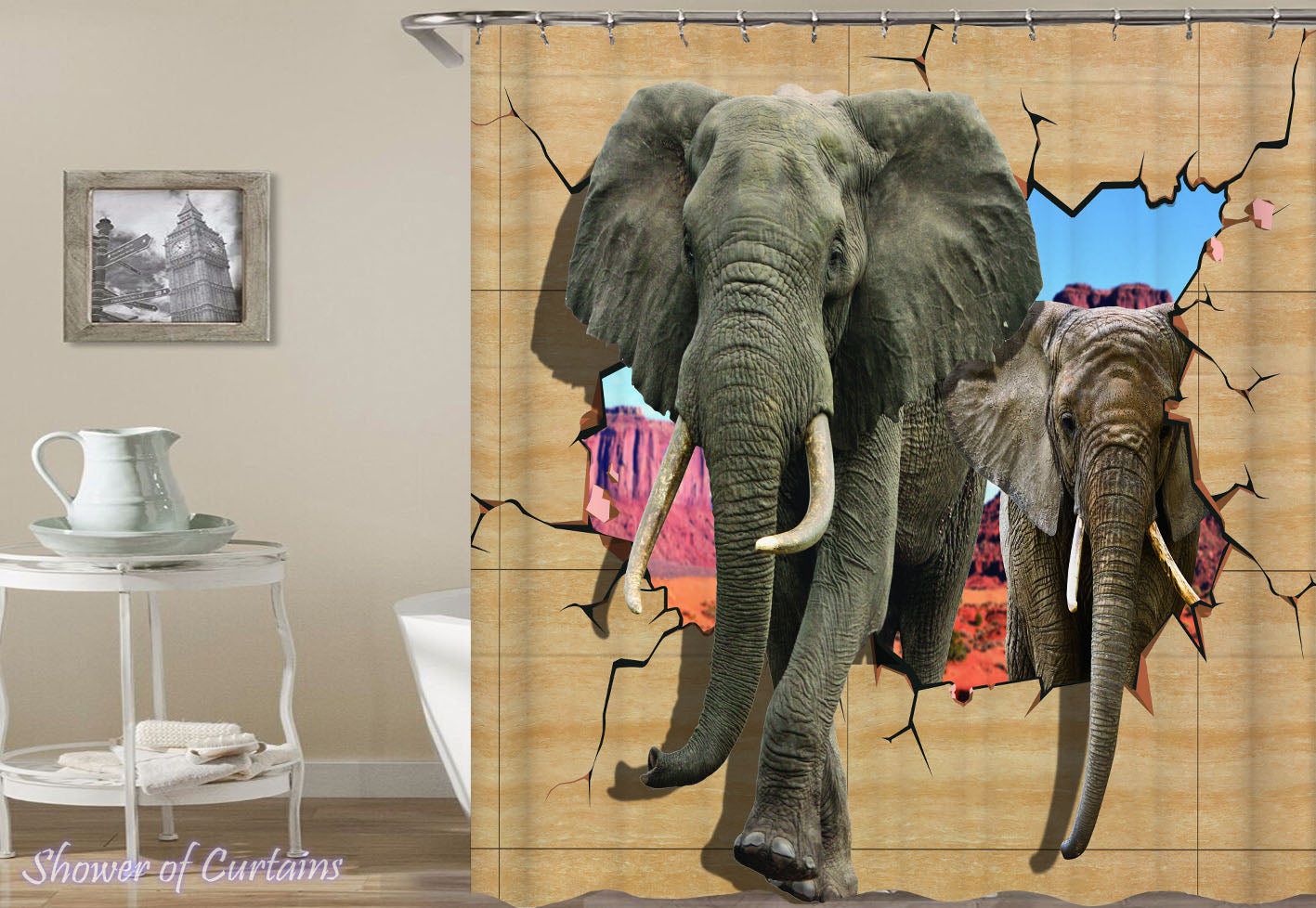 Elephant Shower Curtain Of Elephants Breaking A Wall