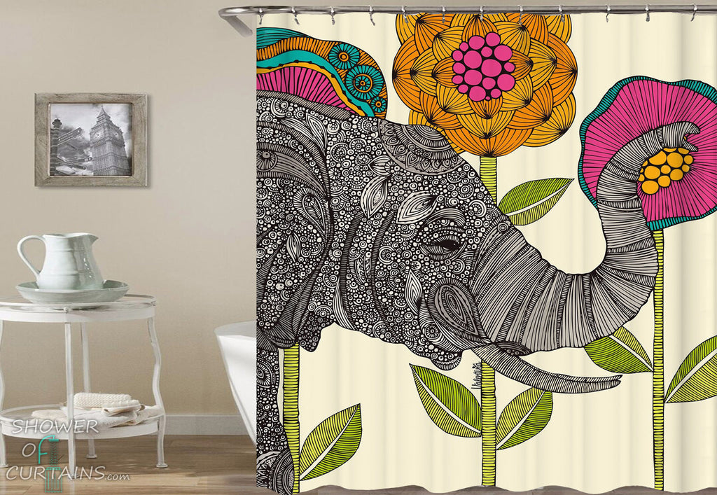 Elephant Shower Curtain of Oriental Elephant And Flowers Drawing