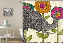 oriental-elephant-shower-curtain-and-flowers-drawing